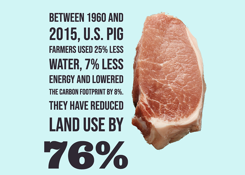 From 1960 to 2015, pig farmers in the U.S. used 75.9% less land, 25.1% less water, 7% less energy and have a 7.7% lower carbon footprint.