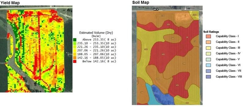 Farmland Forecast   Soil Map MN Farm yield map overlay marc schober colvin cheney farm management 2012