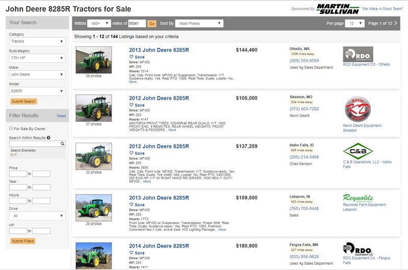 JD 8285R Sold 2nd Highest Price in 4 Years
