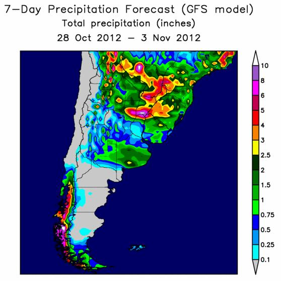 Wet Forecast South Brazil,  Buenos Aires Arg