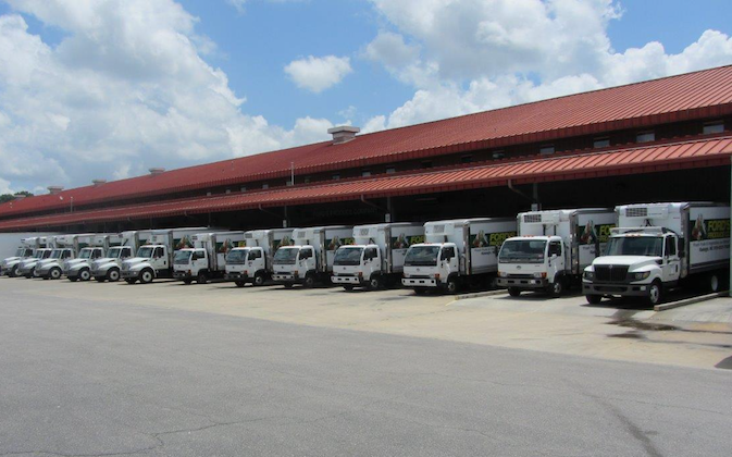 Ford's Produce Co. has a fleet of trucks to do business at the Raleigh State Farmers Market. Courtesy of Vaughn Ford