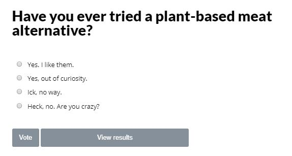 Plant Based Meat Alternative Poll