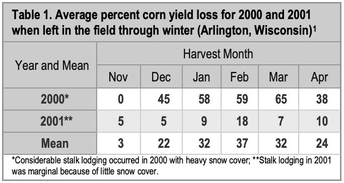 corn yield loss