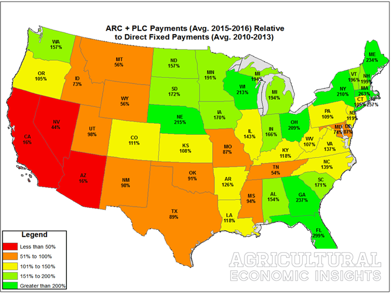 A state-by-state comparison of ARC/PLC versus prior direct fixed payments.