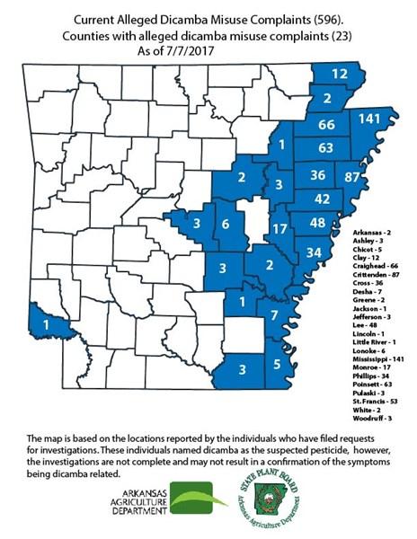 Arkansas dicamba map