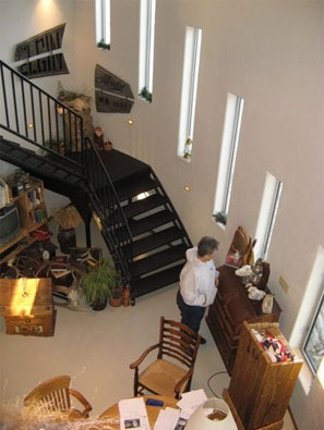 Looking down from second floor landing.