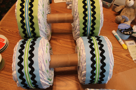 12 Wrap wheels with ribbon