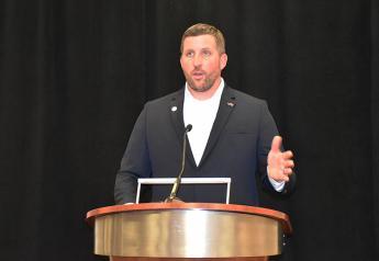 National Pork Board president David Newman addresses producers at the 2020 Pork Forum.
