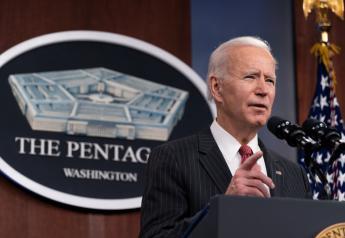 FILE PHOTO: U.S. President Joe Biden speaks at the Pentagon in Arlington, Virginia, U.S., February 10, 2021. Alex Brandon/Pool via REUTERS/File Photo