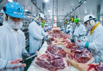 Workers at a pork processing facility