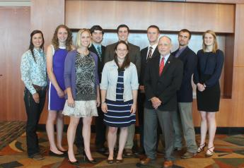 2017 Harold E. Amstutz Scholarship recipients. Front row (L-R): Dr. Callie Willingham, Danielle Mzyk, Dr. Jim Floyd. Back Row (L-R): Rebecca Gibbs, Jessica Gaska, Robert Stenger, Brian Welly, Brandon Colby, Mark Spare, Amy Kraus.