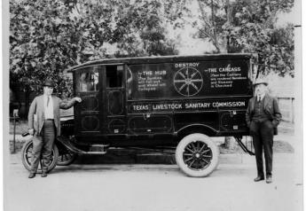 Two men stand next to the Texas Livestock Sanitary Commission van, whose purpose was to dispose of carcasses, and other materials that would be in danger of contaminating the water, wind or the ground