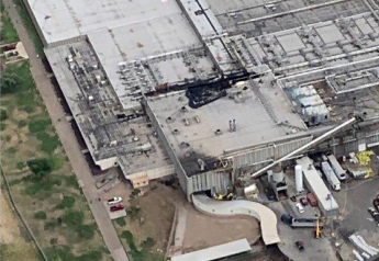 Aerial photo showing damage to the roof of Tyson's Finney County beef plant.
