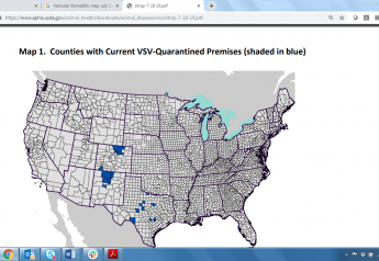 VSV continues to spread in Colorado, New Mexico and Texas, but has not appeared in any other states so far this summer.