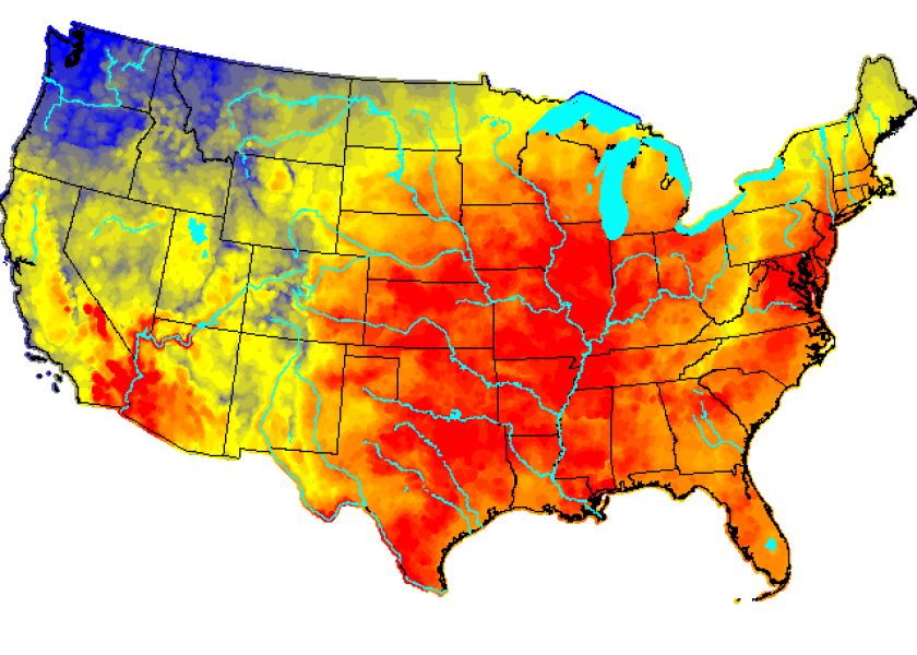 The USDA's cattle heat-stress forecast shows much of the eastern and central states under risk of dangerous to emergency heat stress as this week progresses.