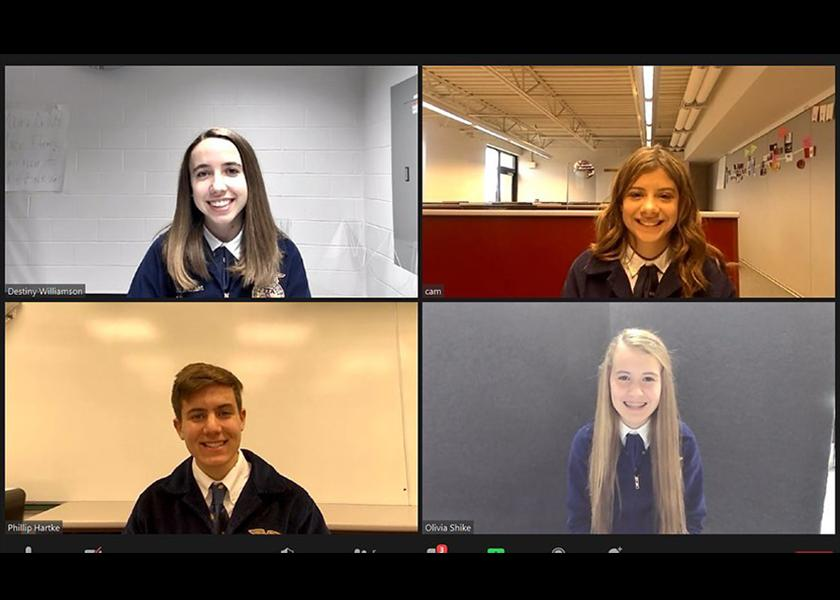 Unity FFA members compete in a virtual ag sales contest.
