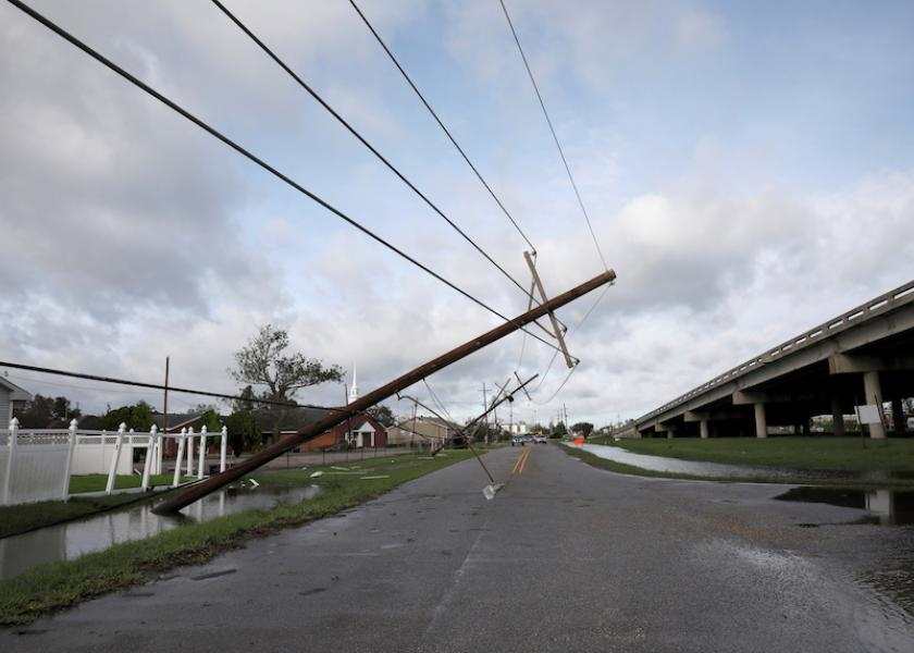 A damaged electric line is pictured after Hurricane Ida made landfall in Louisiana, in Kenner, Louisiana, U.S. Aug. 30, 2021.