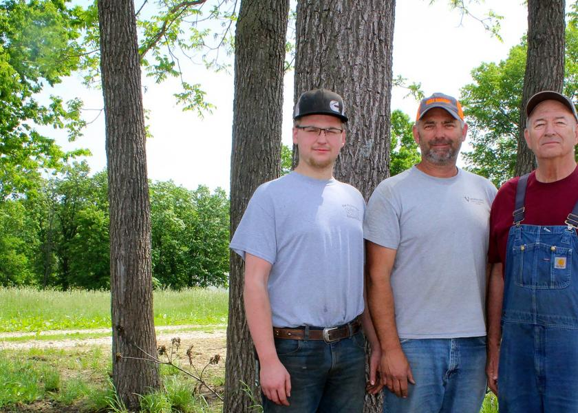 Three generations of Pembertons, including Brian, father Richard and son Cade, run the grassland farm in the northwest corner of Monroe County.